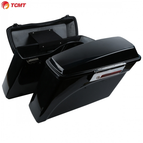 TCMT XF111508-B ABS Plastic Black Saddlebags w/ Lid & Latch Keys For Harley Electra Glide 93-13