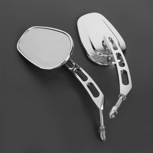XF110858 Rear Chrome View Mirrors For Harley Davidson Softail Springer Heritage Fat Bob