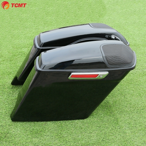 "5"" Stretched Extended Saddlebags w/ Speaker Cutout For Harley Touring 2014-2019"