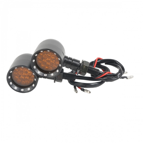 Black Aluminum Amber LED Indicators Turn Signals For 10MM Harley Chopper Models