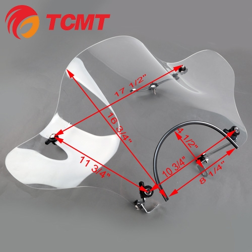 TCMT XF110601 Windscreen Windshield w/Hardware for Motorcycle Yamaha Cruiser VTR XV V-STAR New