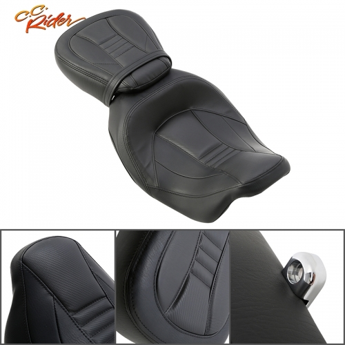 CC Rider XF2906SC231-01-BK Front Rider Driver Pillion Seat For Harley Road King 09-20 Road Glide 09 15-20