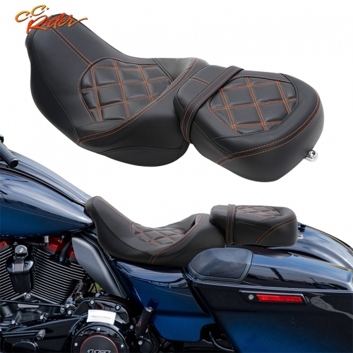 CC Rider XF2906SC231-02-BO Driver Passenger Pillion Seat Fit For Harley Touring 09-20 CVO Street Glide 2020