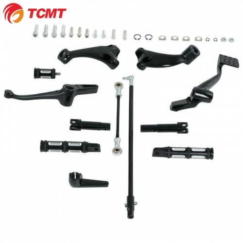 TCMT Gloss Black Forward Controls Pegs Levers Linkages For Harley XL 883 1200 2014-20