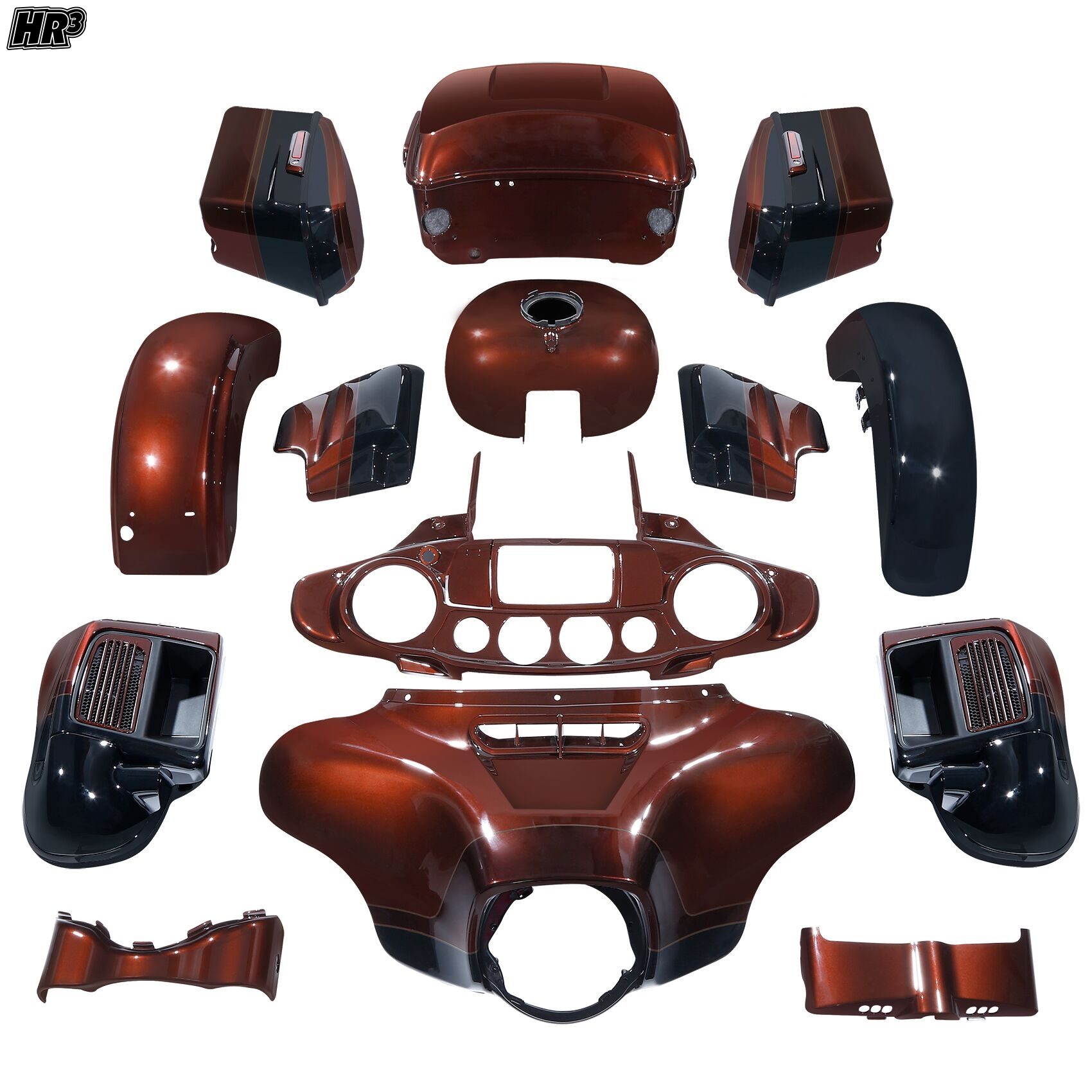 HR3 body kit Fairing For Harley CVO Limited 2019 Auburn Sunglo & Black Hole With Rich Bourbon